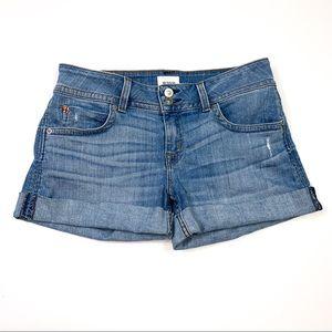 Hudson || Denim Jean Cuffed Shorts Light Wash 28